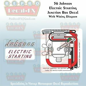 1956 Johnson Electric Starting Junction Box With Wiring Diagram 2pc Vinyl Decal Ebay