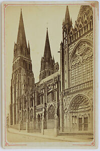 Cattedrale Madonna Di Bayeux Carta Armadio Vintage Albumina Ca 1885