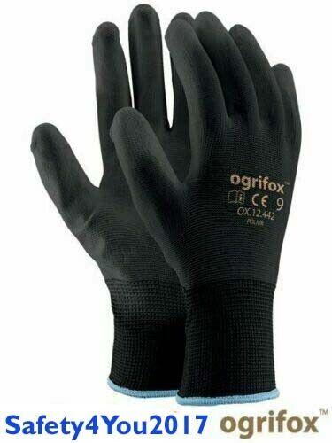 1 12 24 120 240 Black White Nylon PU Safety Work Gloves Builders Grip Gardening