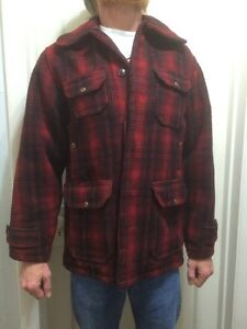 VTG-50s-Woolrich-Mens-Red-Plaid-Wool-Heavy-Hunting-Jacket-Coat-mackinaw-size-38