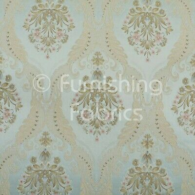 New Traditional Large Damask Pattern Ivory Teal Upholstery Furniture Fabric Sold By The 1 Metre Length Fabric