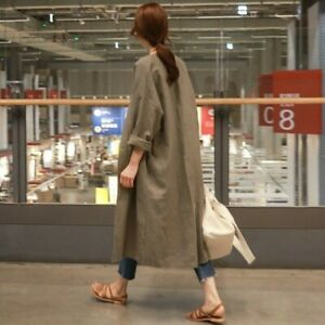 Lady-Long-Loose-Linen-Coat-Jacket-Outerwear-Top-Casual-Cardigan-Baggy-Retro-Chic
