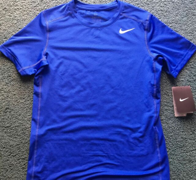 NWT Nike Boy YSM Royal Blue//White Short Sleeve FITTED Dri-Fit Shirt Small