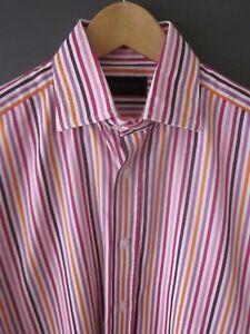 Duchamp 15 cuffs orange Pink sleeve Excel 5 Long Stripe regular Shirt Cotton D r5XP4nFrq