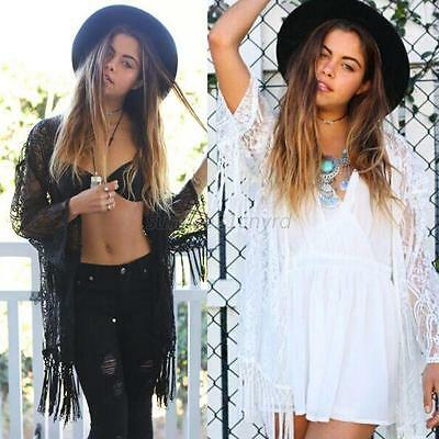 Womens Lace Long Sleeve Kimono Cardigan Clothes Beach Cover Up Cape Tops Blouses