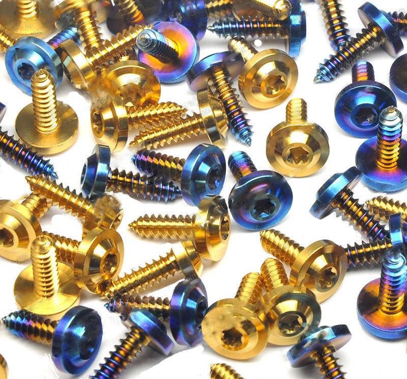10pcs Titanium M5X17mm Self-Tapping Screws Dish shaped Button Head Bolts Torx