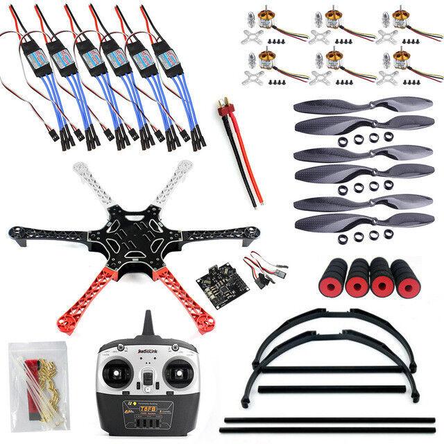 F550 Drone FlameWheel Kit con KK 2.3 Esc hélices Radiolink 6CH T8FB TX RX + Ta