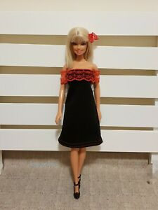 New-quality-black-red-lace-doll-fashionista-dress-For-Your-Barbie-Dolls-Au-Made