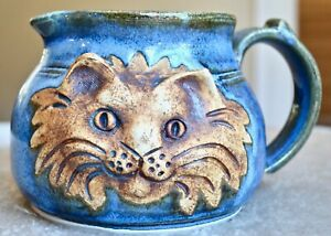 Handmade-Ceramic-Pottery-4-034-Pitcher-with-Cat-Unique