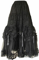 Gothic Long Skirt Punk Prom Bridal Halloween Bridesmaid Party Wear Black