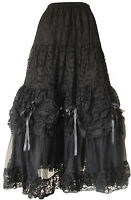 Gothic Long Net Skirt Punk Prom Bridal Halloween Bridesmaid Party Wear Black