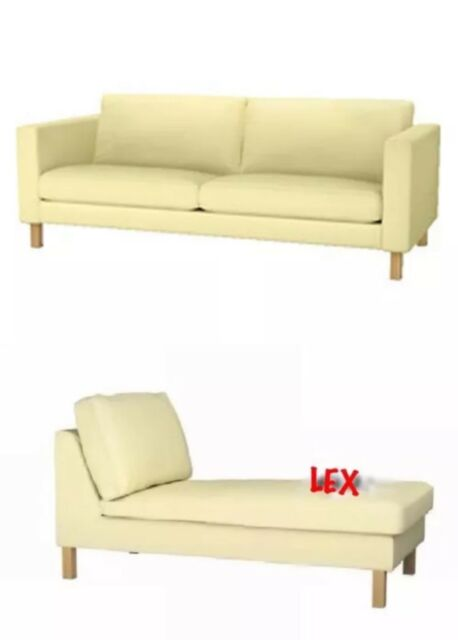IKEA Karlstad 3-Seat Sofa and Chaise Covers Sivik Light ...