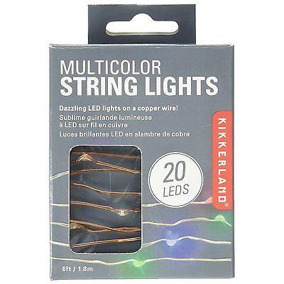 Kikkerland Copper Wire Multicolor LED String Lights - Red, Green & Blue