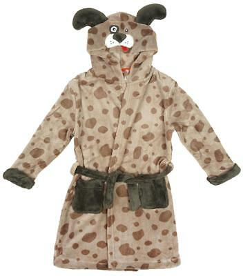 Girls Boys Dressing Gown Puppy Dog Hooded Bathrobe with Ears Kids 2 to 11 Years