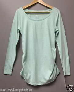 Liz Lange Maternity Women's Pregnancy Top Shirt Aqua mint Long Sleeve Size Large