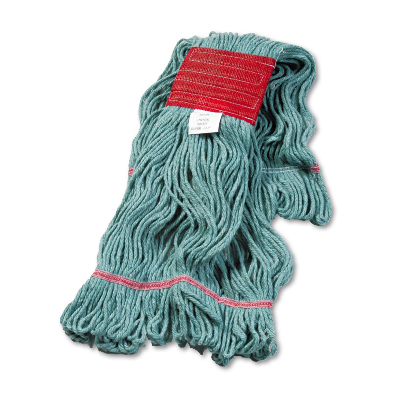 Boardwalk Super Loop Wet Mop Head Cotton Synthetic Large Size Green 12 Carton