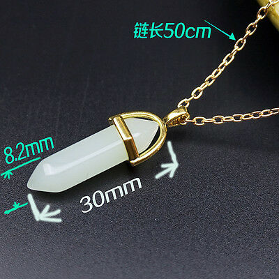 New Gemstone Pendant Necklace Natural Quartz Crystal Point Chakra Healing Stone