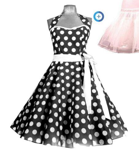 32,34,36,38,40,42,44,46,48,50,52 50er Rockabilly TanzKleid inkl Petticoat Gr