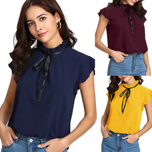 2f148df6159 Women's Casual Cap Sleeve Bow Tie T-Shirt Solid Chiffon Blouse Tops ...