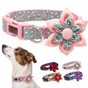 Suave-Moda-Flor-Collar-de-Nylon-para-perro-Ajustable-Pequeno-mediano-grande-Rojo