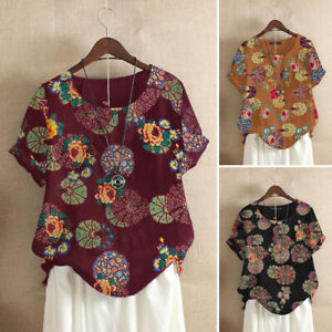 Women-Summer-Cotton-Top-Ethnic-T-Shirt-Tee-Vintage-Retro-Floral-Printed-Blouse