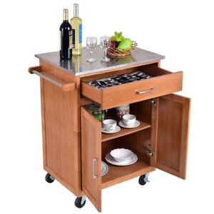 Kitchen Island Trolley Wood kitchen island trolley cart stainless wheel rolling storage image is loading wood kitchen island trolley cart stainless wheel rolling workwithnaturefo
