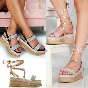 Womens Glitter Diamante Bling Flatforms