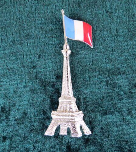 Pierre Bex Ferraggioli Silver Plate Eiffel Tower /& French Flag Brooch