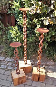 Details Zu Edelrost Kerzenstander Rustikal Auf Holzbalken Klein 60cm Garten Deko Wohnen