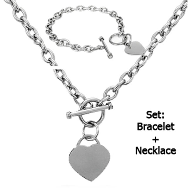 Polished Stainless Steel Heart Chain Necklace and Bracelet Set 911613