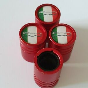 FIAT-500-Matte-Red-Valvola-Pneumatico-polvere-tappi-in-plastica-all-039-interno-di-tutti-i-modelli