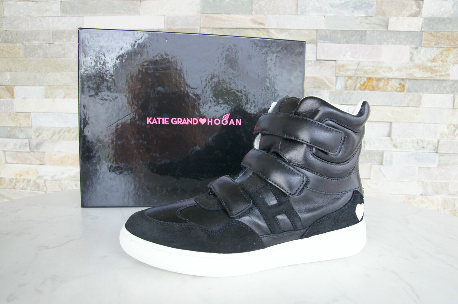 Katie Grand Hogan Tod ´S 37,5 High-Top Sneakers shoes Black New Previously