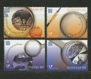 Stamp-Collecting-mnh-set-4-stamps-Europa-2005-Slovenia-Magnifier-Elephant-River