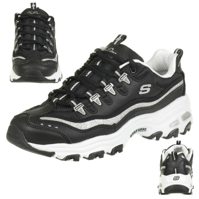 51818b5205ba Skechers DLites Now Then Black Silver Women Casual Shoes SNEAKERS ...