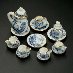 15X-Dining-Ware-Ceramic-Blue-Flower-Set-For-1-12-Dollhouse-Miniatures-New-T8R3