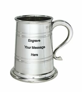 NEW-Personalised-1-Pint-Heeley-Polished-Pewter-Tankard-Any-Message-Engraved