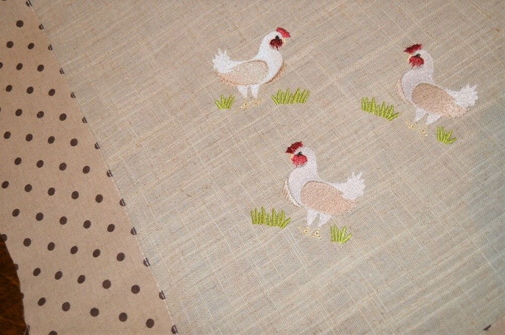 COUNTRY HENS W  POLKA DOTS & BOWS  VINTAGE GERMAN EASTER LINEN BLEND TABLECLOTH