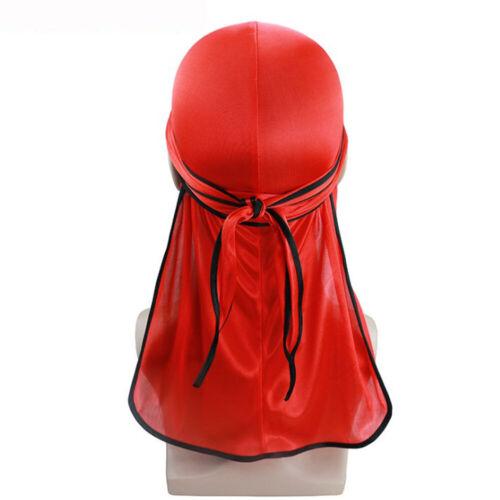 Mens Womens Silky Durag Bandanna Turban Hat Wigs Doo Rag Biker Headwear Headband