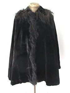 Antique-Victorian-thick-heavy-black-velvet-cape-cloak-spiky-real-fur-collar-trim