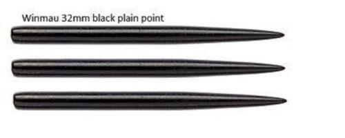 WINMAU BLACK  32mm  STEEL TIP DART REPLACEMENT POINTS PACK OF 3