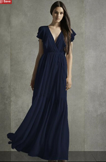 Davids Bridal Bridesmaid Vera Wang Flutter Sleeve Tiered Dress Midnight Blue 6