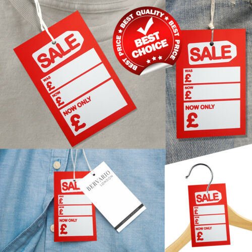 LARGE RETAIL SALE PRICING GUN TAGS HANGER HOLE SWING TICKETS WAS NOW LABEL CARDS