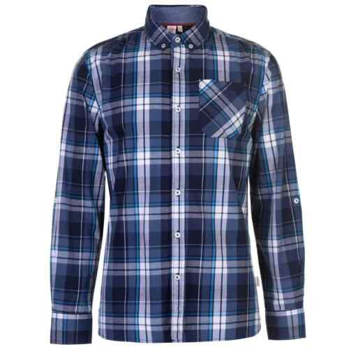 Lee Cooper Mens Long Sleeve Check Shirt Casual Cotton Pattern Chest Pocket