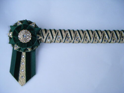 GREEN CREAM AND GOLD DELUXE CORNERSTONE BROWBAND VELVET SHOW BROWBAND 27.99