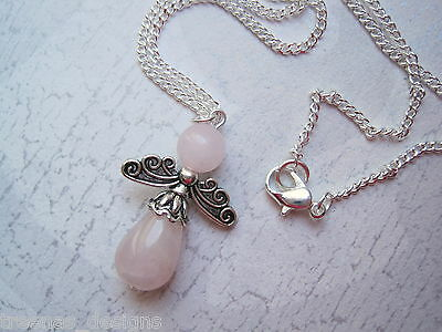 ROSE QUARTZ ANGEL Silver Plated Necklace HEALING Charm Teardrop Bead Xmas