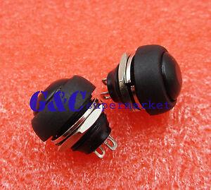 5PCS Black 12mm Waterproof momentary Push button Switch Mini Round Switch
