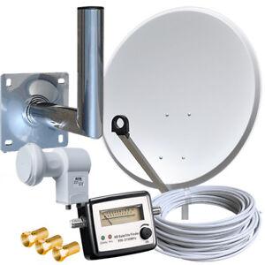Sat-Anlage-80cm-Spiegel-Satfinder-Twin-LNB-Full-HD-Kabel-SAT-Anlage-Wandhalter