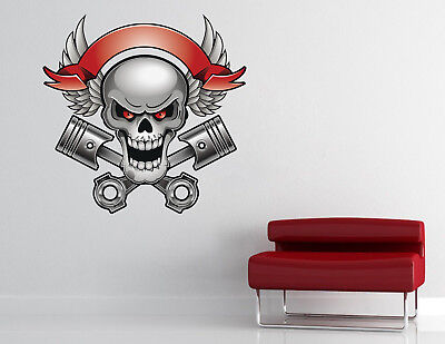 Flying Skull Wall Decal Racing Wrench Mechanic Motorcycle Vinyl Sticker RV15