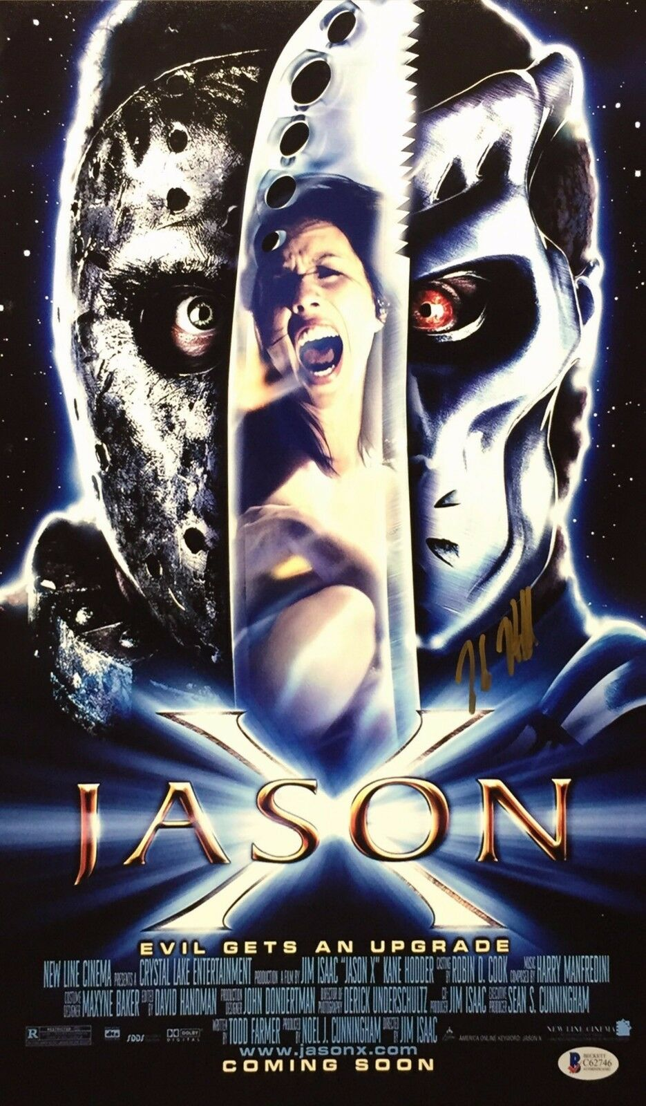 Kane Hodder Signed Jason 'Evil Gets An Upgrade' 11x17 Photo BAS Beckett C62746