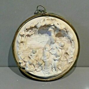 Vintage-Plaster-Relief-Plaque-Depicting-a-Classical-Scene